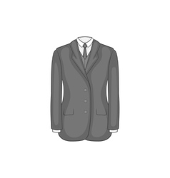 Man suit with tie icon black monochrome style vector image