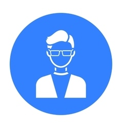 Man with glasses icon black Single avatarpeaople vector image