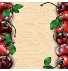 Many cherries on wooden texture background vector