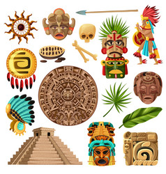 Mayan traditional cartoon set vector