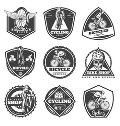 monochrome cycling labels set vector image