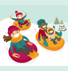 Multiethnic family sliding down the hill on tubes vector