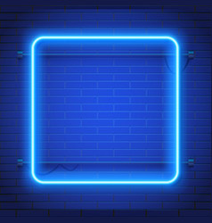 Neon lamp casino rectangel frame on brick wall vector