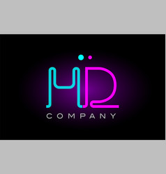 Neon lights alphabet hd h d letter logo icon vector
