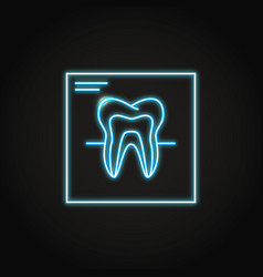 Neon tooth x-ray icon in line style vector