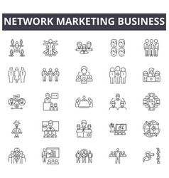 network marketing business line icons signs vector image