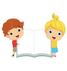 of kids keeping notebook vector image