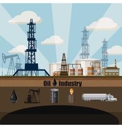 Oil factory concept cartoon style vector