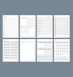 Organizer pages office agenda weekly template vector