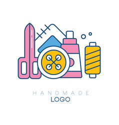 Original logo with accessories for sewing big vector