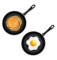 pan with pancake and fried eggs isolated white vector image