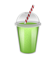 Plastic cup green smoothie mockup realistic style vector