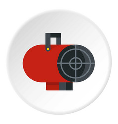 Retro iron central heating battery icon circle vector