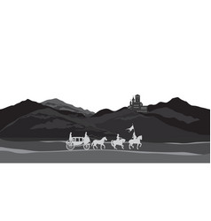 rural nature background with castle carriage vector image