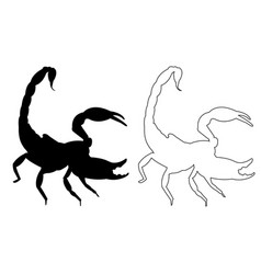 scorpio silhouette outline icon eps set vector image