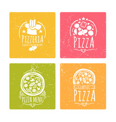 set cafe pizzeria labels or badges banners vector image