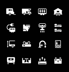 Set icons of camper caravan trailer vector