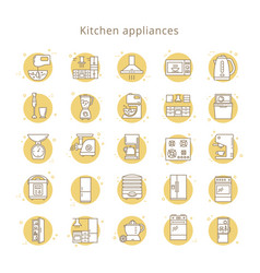 set of kitchen appliances icons in line style vector image