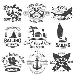 Set sailing camp yacht club and surf club vector