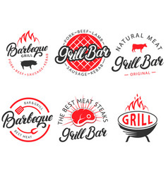 set vintage grill bar bbq labels emblems vector image