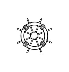 ship steering wheel hand drawn outline doodle icon vector image