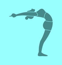 Silhouette of body stretches pose yoga posture vector