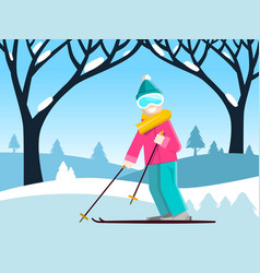 Skier with winter landscape with blue sky and vector