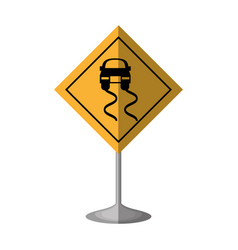 slippery road traffic signal vector image