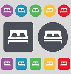 Sofa Icon sign A set of 12 colored buttons Flat vector