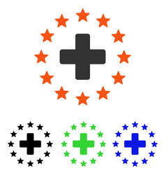 Starred medical cross flat icon vector