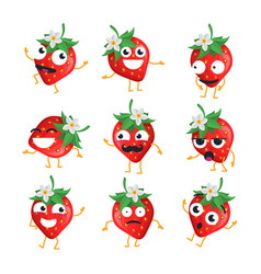 Strawberries - isolated cartoon emoticons vector