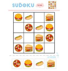 sudoku for children education game pizza hot dog vector image