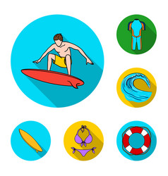 surfing and extreme flat icons in set collection vector image