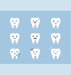 teeth emoji icon set cracked broken healthy vector image