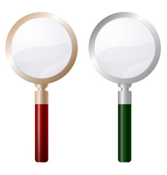 two magnifying glass isolated on white background vector image