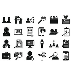 Unemployed icon set simple style vector