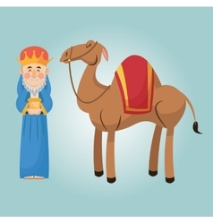 Wise man cartoon with gift design vector image