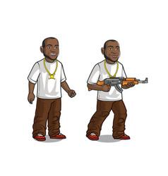 Young handsome hip hop rapper star cartoon vector