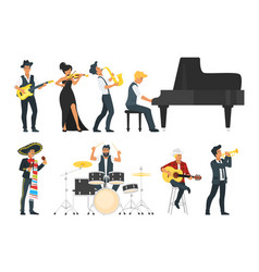 young musician with different instrument vector image