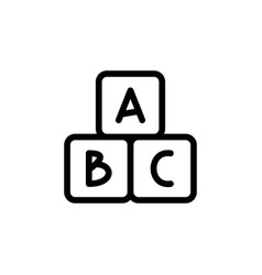 Alphabet cubes thin line icon outline symbol baby vector