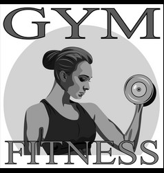 athletic woman with dumbbells vector image vector image