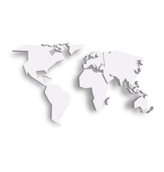 Blue 3d map of world with dropped shadow on vector