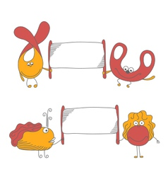 Cute characters vector image