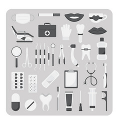 flat icons dental set vector image vector image