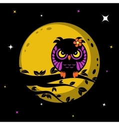 Funny owl in front of the moon vector image