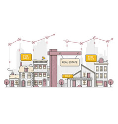 real estate business concept with houses flat vector image
