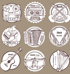 Sketch set of logo with musical instruments vector image