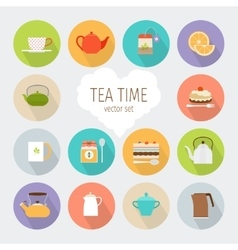 Tea flat icons vector image vector image