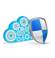 3d cloud computing with protection shield vector image