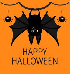 bat hanging spider dash line web happy halloween vector image